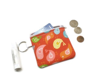 Whimsical birds zippered cards purse, coin pouch, change bag. 10 dollar gift, stocking stuffer. Red with colorful birds!