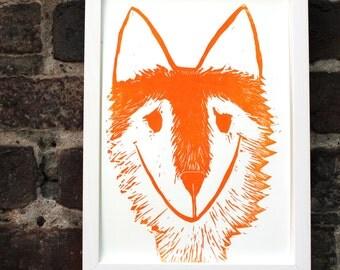 fox print linocut poster