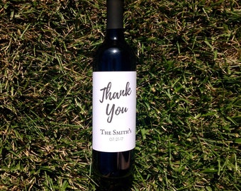 Thank You Wine Bottle Label Stickers | Wedding Wine Bottle Favor | Calligraphy | Wedding Wine Bottle Label Centerpiece Event Gala Gift