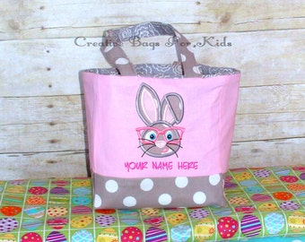 Personalized Easter Basket/ Easter Fabric Basket/ Easter Bucket/ Easter Bunny Basket/ Easter Bag/ Easter Bunny Bucket
