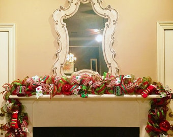 Deco mesh, Mesh door garland, deco mesh garland, christmas garland, holiday decor, Twisted Ribbon garland ANY HOLIDAY (you choose your style