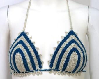 brazilian bikini top vanilla and petrol blue, Halter Tank Backless Music Top Retro  Music Bikini Hippie, bikini top crochet