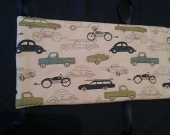 Crib Bumpers vintage cars on biege cotton