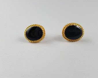 Black and Gold Tone Stud Earrings