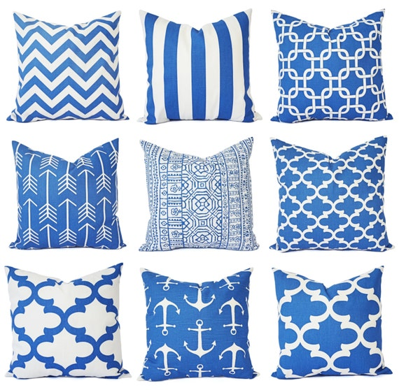 Two blue couch pillows royal blue and white chevron pillow for Royal blue couch pillows