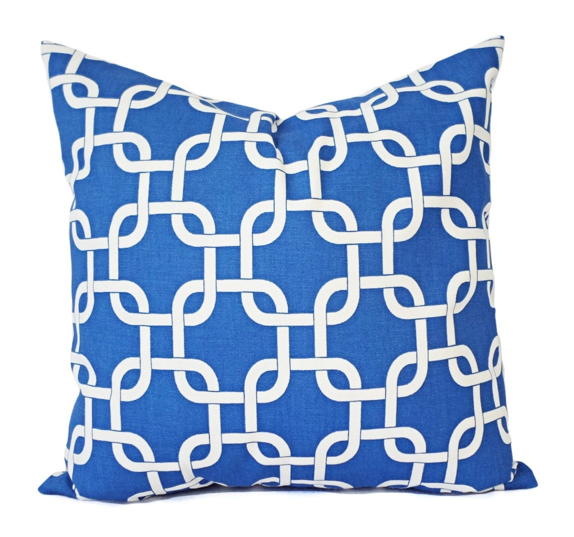 Royal Blue And White Throw Pillows : Two Royal Blue Pillow Covers Blue Pillows by CastawayCoveDecor