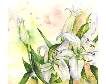 Lillies -  Watercolor flower Original by Kate Bauer
