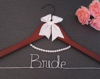 Bride Hanger - Name Hanger - Wedding Hanger - Dark Wood Hanger - Pearl Hanger - Dark Wood Hanger with Pearl Accents - Mrs Hanger