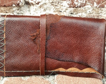 SALE!!!! Handmade Raw Leather Trifold Clutch *MIDNIGHT WARES*