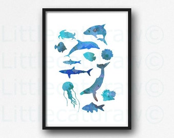 Blue Sea Print Nautical Watercolor Painting Print Blue Whale Jellyfish Fish Dolphin Watercolour Sea Art Bathroom Wall Art Unframed Print