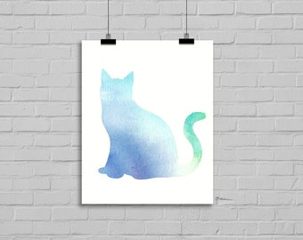 Cat Watercolor Kitten Green Blue Purple Painting Cat Illustration Art Drawing Watercolor Print Watercolor