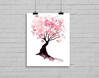 Pink Cherry Blossom Tree Illustration Art Print Cherry Tree Poster Tree Print Wall Art