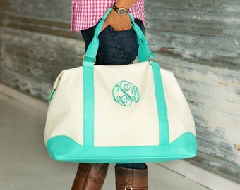 Monogrammed Canvas Weekender Bag-Mint