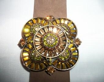 Heidi Daus Swarovski crystal watch with leather band