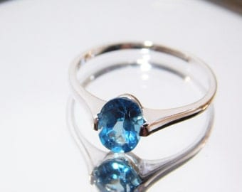 Blue Topaz Ring Steling Silver, Solitaire Blue Topaz Ring, Swiss Topaz Ring, Topaz Stone Ring Gemstone Size 8 Ring US