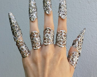 Silver claw spike fingers