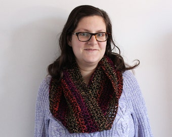 Big cowl, neckwarmer crocheted in black with pink, orange and yellow accents