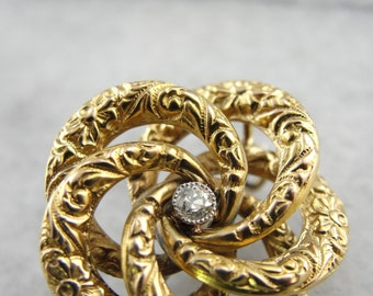 Antique Victorian, Gold and Diamond, Love Knot Brooch or Pin 0JR33N-D
