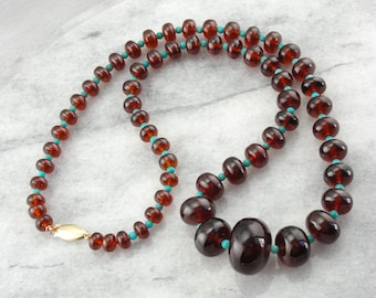 Graduated Garnet and Turquoise Beaded Necklace 8AYV60-P