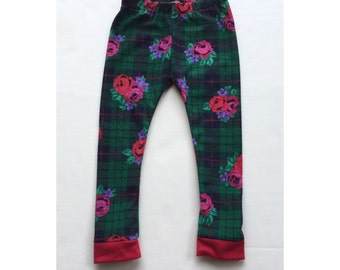 SALE!! 30% OFF  Floral & Plaid Leggings.  Baby leggings.  Toddler leggings.  Girls leggings.  Size Premie - 5/6
