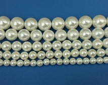 natural sea shell pearl beads white round gemstone beads 6mm 8mm 10mm 12mm 14mm 15'' strand