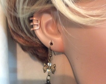 Clipon Copper,antique bronze ear cuffs,set of 2,free shipping to usa