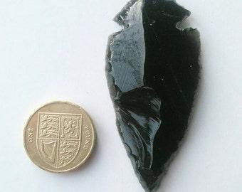 Natural Black Obsidian Arrowhead