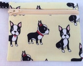 Boston Terrier Coin Purse, Credit Card, Earbud, Music Player Pouch