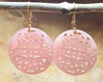 Boho earrings, Pink earrings, Filigree earrings, Gift for her, Gold tone earrings, Long earrings, Dangling earrings, Resin earrings