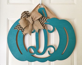 Monogram Teal Pumpkin