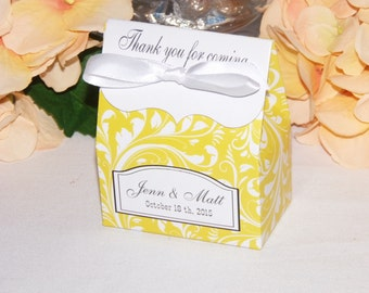 Butter Yellow Favor Bags, 10 Yellow Wedding Favor Bags, Personalized