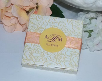 Cookie Favor Boxes, Personalized Wedding Favor Boxes, Butter Yellow