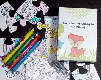 10 Personalized Fox & Forest Friends Favors Childrens Coloring Puzzle