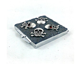 Skulls with Red Rhinestone Eyes square compact mirror, pocket mirror