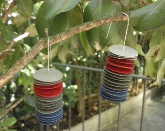 Eco earrings-light multicolor earrings made out of little disks of paper-statement earrings-dangle earrings of paper-eco friendly earrings