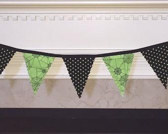 Halloween Spider Web Fabric Banner. Green and Black Halloween Banner.