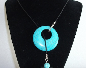 Howlite Turquoise Adjustable Necklace / Collier Ajustable Turquoise Howlite (FABN002)