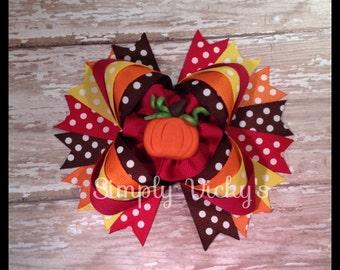 Fall Pumpkin Hair Bow