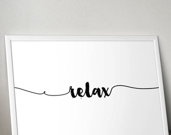 Relax Horizontal  - 13 Colours - Bedroom, living room poster - Typography Poster