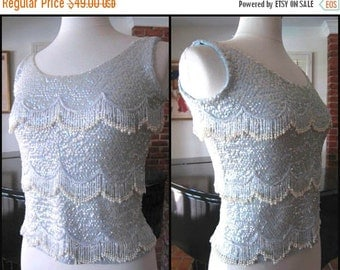 Love Sale 25% off 50s Beaded Sweater / 50s Blue Sequin Sweater / fits S / Baby Blue Beaded Sweater / Vintage Blue Beaded Sweater / Pearl Bea