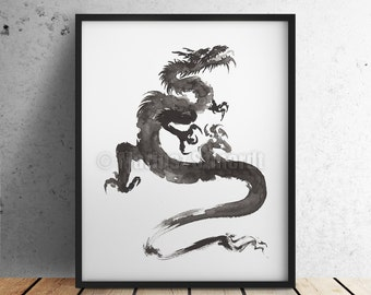 Dragon, Abstract Painting, Japanese Style Art, Sumi-e, Minimalist Zen Art, Dragon Poster, Power Symbol, Chinese Zodiac