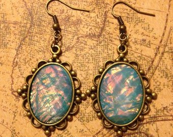 Aquafire Filigree Steampunk Earrings