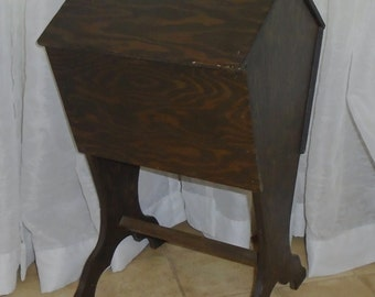 Antique Rustic Wood Floor Model Standing Sewing Storage Cabinet Box w Tray