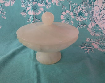 White Alabaster Candy Dish with Lid