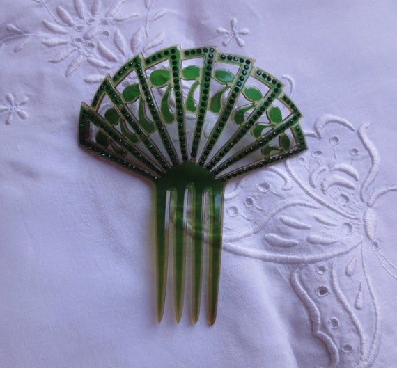 NEW PRICE Art Deco Spanish hair comb green rhinestones