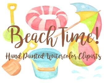 Strand Sommer Party Aquarell Clipart Digitaldatei Beachball Download  Dekoration Digitale Geburtstag Einladung Kinderbecken