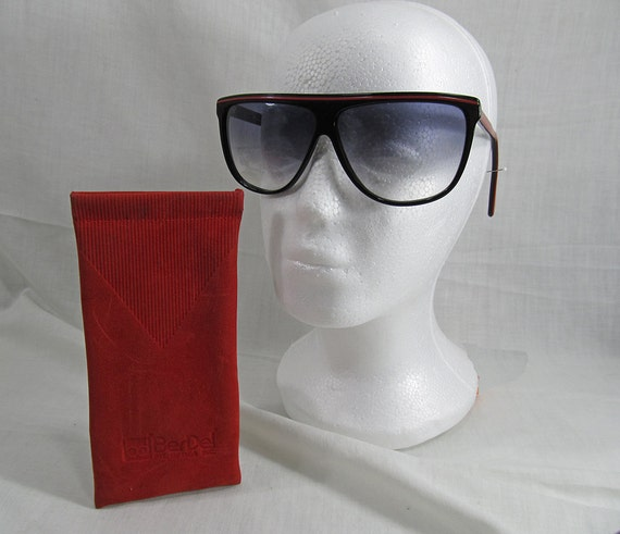 Vintage BerDel Italy Black Red Sunglasses BerDel 8544 Oversized Women's 70's Retro with original case