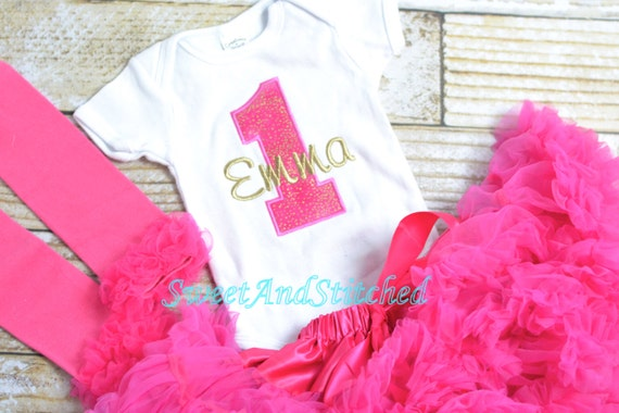 Hot Pink and gold First (1st) Birthday Outfit, Pettiskirt tutu - First birthday outfit, birthday pettiskirt! pink gold cake smash outfit