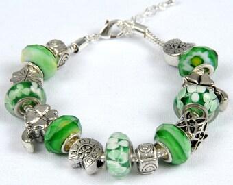 Shamrocks, Horseshoes, Four Leaf Clovers, Irish. Luck Of The Irish Bead Bracelet.