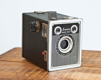 1940s Ansco Shur Shot Box Camera, Takes 120 Size Film, Made in USA, Vintage Photography or Prop